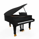 Grand Piano isolated on white background. 3D render